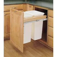 Rev-A-Shelf 4WCTM-21DM2-162 4WCTM Top Mount Double Bin Trash Can with Full Extension Slides - 35 Quart Capcity per Bin