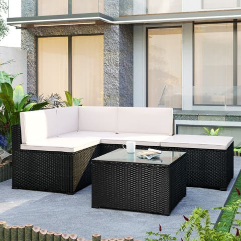 5 PCS Outdoor Rattan Wicker Sofa Set Patio All Weather Furniture