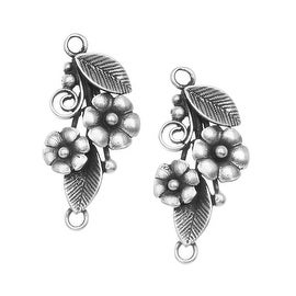 Antiqued Silver Plated Connector Link Daisy Flowers 27.5mm (2)