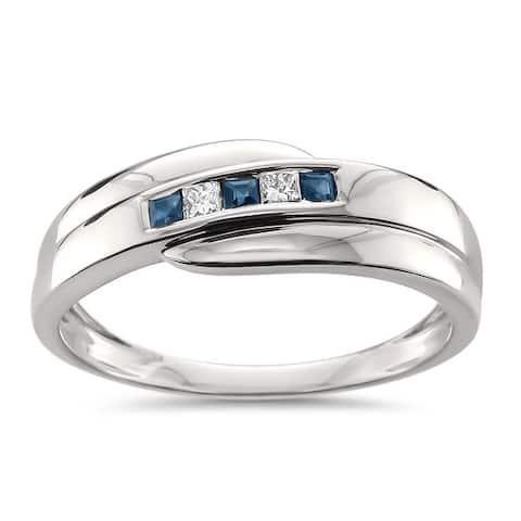 Montebello Jewelry Men's 14k White Gold 1/4ct TGW Princess Cut Sapphire and White Diamond Wedding Band (H-I, I1) - Blue