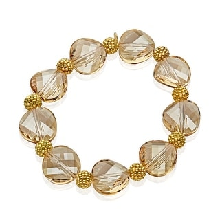 Aya Azrielant Swarovski Crystals Bead Bracelet in Oxidized Sterling Silver in 18K Gold-Plated Sterling Silver - Honey