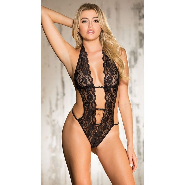 5d2ca6c35341b Shop Deep Plunge Lace Teddy - Free Shipping On Orders Over $45 - Overstock  - 19998918