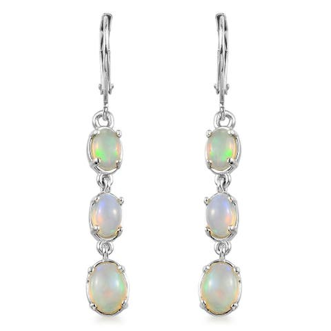 Ethiopian Welo Opal 925 Sterling Silver Dangle Drop Earrings