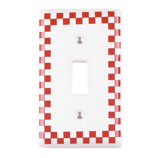 Switch Plate Red Porcelain Checkered Single Toggle