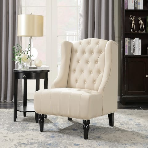 Belleze Tall Wingback Tufted Fabric Accent Chair Tufted High Back with Nail Head, Beige