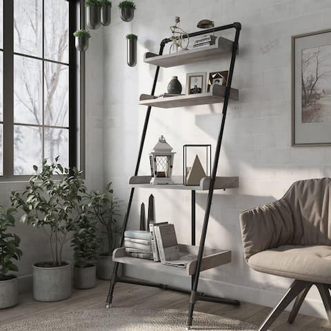 Furniture of America Callana Rustic 4-shelf Ladder Display Shelf