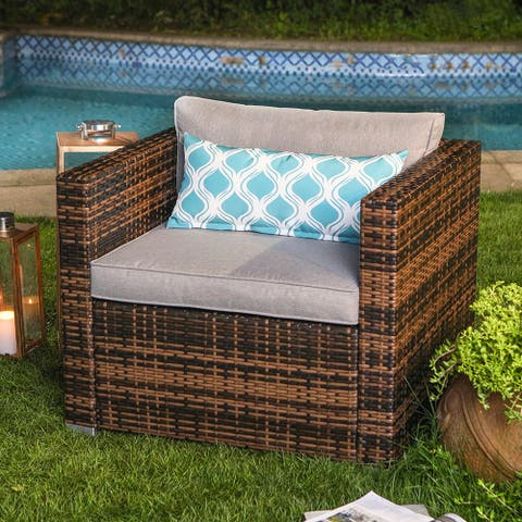 COSIEST Outdoor Furniture Wicker Single Chair With Cushions,Pillows
