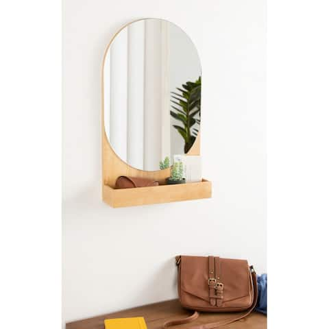 Kate and Laurel Astora Capsule Mirror with Shelf - Natural - 16x26