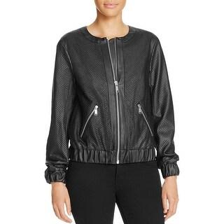 MICHAEL Michael Kors Womens Bomber Jacket Faux Leather Zip Front