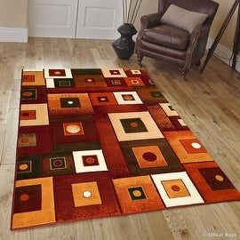 "Allstar Red Modern Contemporary Casual Formal Area Rug (3' 9"" x 5' 1"")"