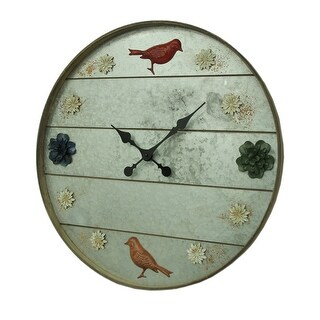 Galvanized Grey Rustic Birds and Flowers 24 inch Round Metal Wall Clock