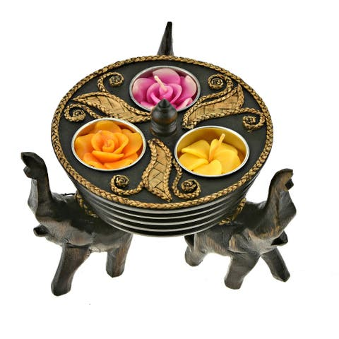 Handmade A Trio of Majestic Elephants Hand Carved Rain Tree Wooden Candle Holder (Thailand) - Brown