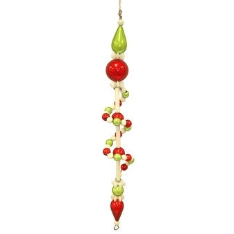 "7"" Festive Swirl Beaded Dangle Christmas Ornament"
