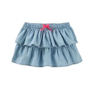 OshKosh B'gosh Little Girls' 2 Piece Tiered Chambray Skirt, 2-Toddler