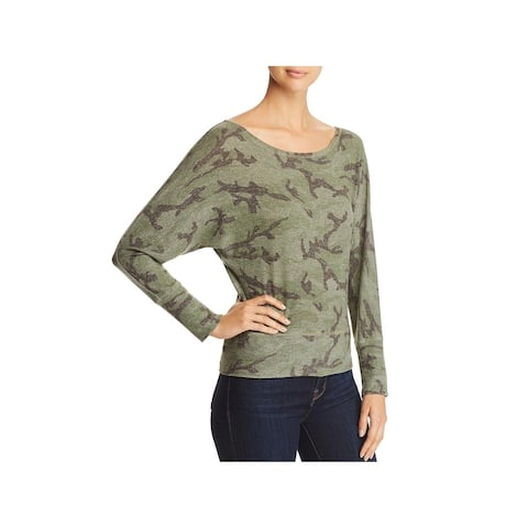 Red Haute Womens Pullover Top Off-The-Shoulder Dolman Sleeves - Army - XS