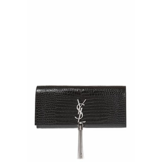 Saint Laurent Black Kate Monogram Croc-Embossed Tassel Clutch