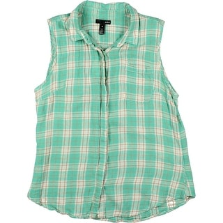 Aqua Womens Juniors Flannel Plaid Button-Down Top - M