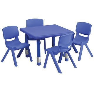 Offex 24'' Square Adjustable Blue Plastic Activity Table Set with 4 School Stack Chairs
