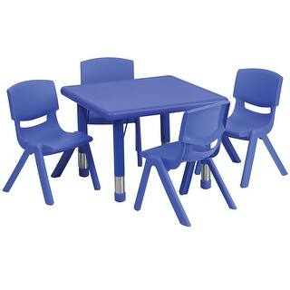 Offex 24'' Square Adjustable Blue Plastic Activity Table Set with 4 School Stack Chairs|https://ak1.ostkcdn.com/images/products/is/images/direct/660890f2028fc17146668a40fc71101a186e259d/Offex-24%27%27-Square-Adjustable-Blue-Plastic-Activity-Table-Set-with-4-School-Stack-Chairs.jpg?impolicy=medium