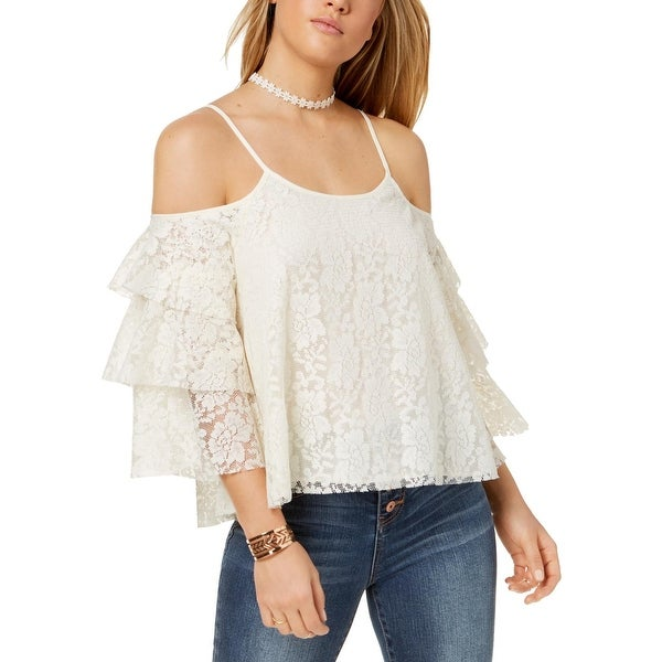 9a9f51a46ce06 Shop The Edit Womens Juniors Blouse Lace Cold Shoulder - Free Shipping On  Orders Over  45 - Overstock.com - 27172263