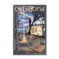 Oklahoma - Retro Camper & Lake - LP Artwork (Acrylic Wall Clock) - acrylic wall clock