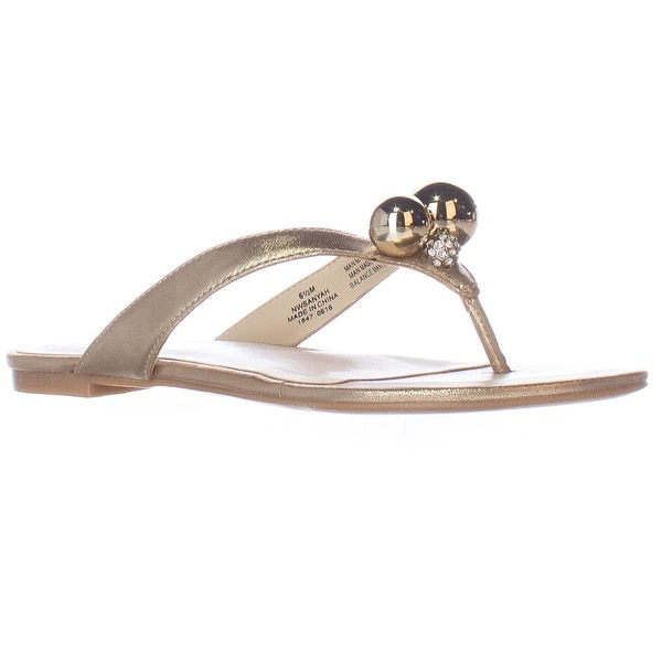 Nine West Sanyah Ball Studded Flip Flop Sandals, Light Gold