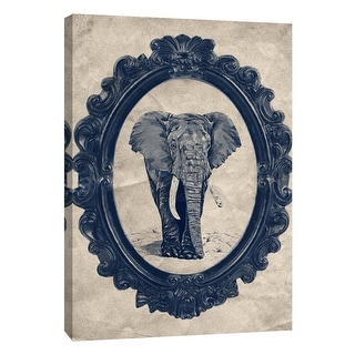 "PTM Images 9-105901  PTM Canvas Collection 10"" x 8"" - ""Framed Elephant in Navy"" Giclee Elephants Art Print on Canvas"