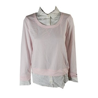 Tommy Hilfiger Ballerina Pink Layered-Look Sweater  L