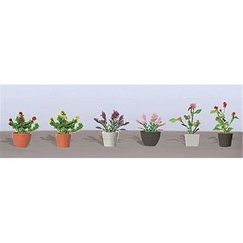 JTT Scenery JTT95566 Assorted Potted Flower Plants - Pack of 6