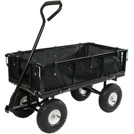 Sunnydaze Utility Cart with Folding Sides and Liner Set
