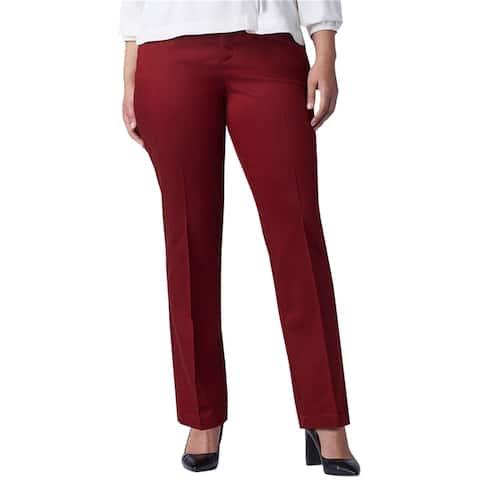 Lee Womens Flex Motion Casual Trouser Pants, red, 22W Long