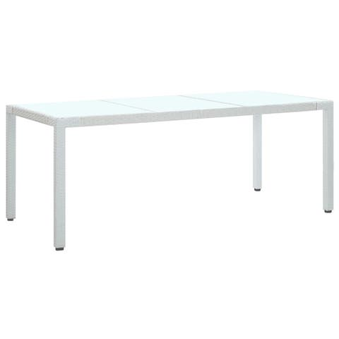 "vidaXL Garden Table White 74.8""x35.4""x29.5"" Poly Rattan"