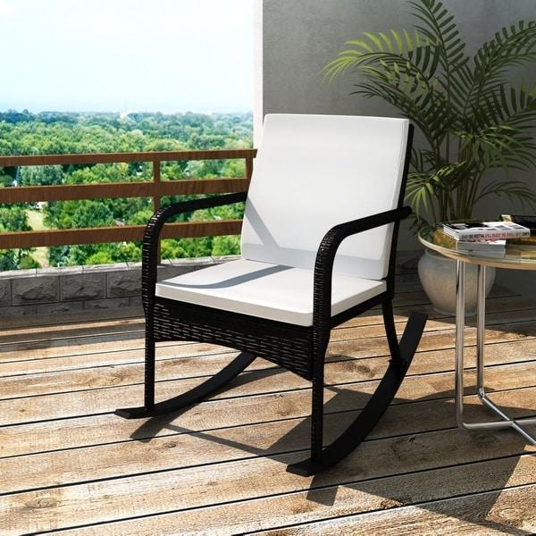 Shop vidaXL Rocking Garden Chair with Cushion and Pillow ... on Safavieh Outdoor Living Granton 5 Pc Living Set id=32037