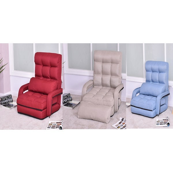 Costway Folding Lazy Sofa Lounger Bed Floor Chair With Armrests And Pillow Beige