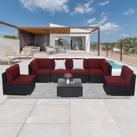 Kinbor Outdoor Wicker Sofa, All-Weather Sectional Sofa Bistro Set w/ Cushions & Coffee Table Wine Red