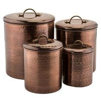 Old Dutch International  Hammered Antique Copper Canister, 4 Piece
