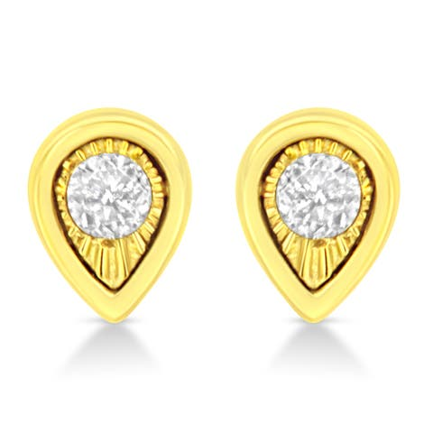 10K Yellow Gold Plated .925 Sterling Silver 1/10 Cttw Miracle-Set Diamond Pear Shape Stud Earrings (K-L Color, I2-I3 Clarity)
