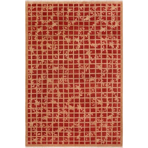 Shabby Chic Ziegler Bobbi Red/Brown Hand knotted Rug - 7'11 x 10'0 - 7 ft. 11 in. X 10 ft. 0 in.