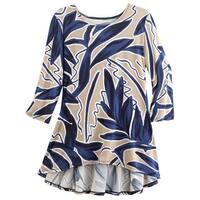 Caribe Women's Tropical Floral Print Tunic Top - Peplum Back Hi-Lo Hem, Blue