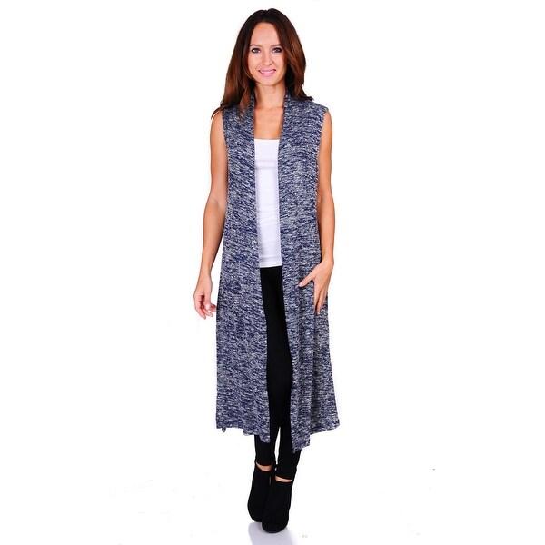 Simply Ravishing Hacci Knit 2-Tone Sleeveless Long Cardigan (Size: S-3X)