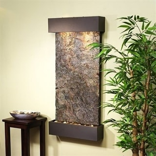 Adagio Whispering Creek Fountain w/ Green Natural Slate in Antique Bronze Finish