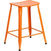 Adeco Metal Stackable Square Top Backless Barstools Set