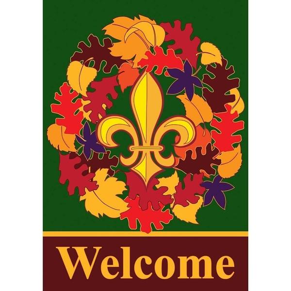 """Fall Wreath Double Applique Garden Flag 13"""" x 18"""" - N/A"""