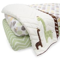 Lambs & Ivy Giraffe White/Brown/Green 3-Piece 100% Cotton Starter Crib Bedding Set