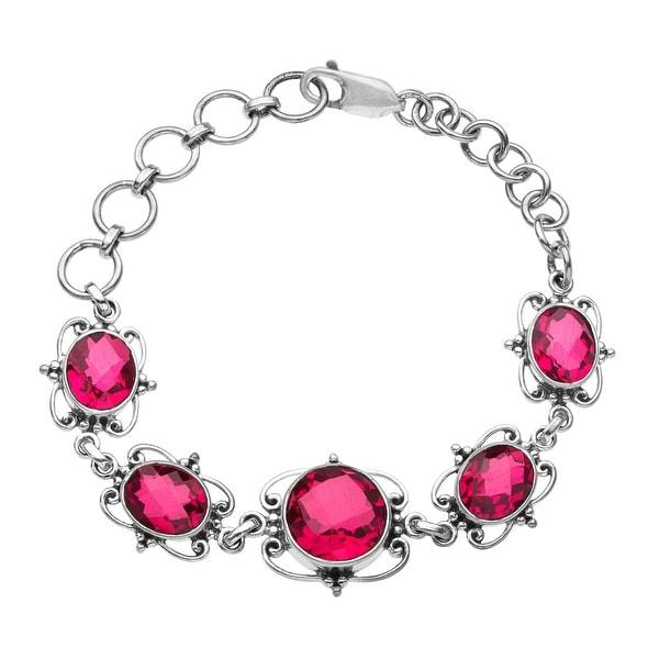 Sajen Celestial Rubellite Quartz Bracelet in Sterling Silver - Red