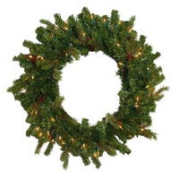 "24"" Hunter Fir Pre-Lit Artificial Christmas Wreath - Clear Lights - green"