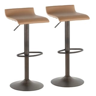 Link to Carbon Loft Hess Industrial Barstool in Antique Metal and Faux Leather (Set of 2) Similar Items in Dining Room & Bar Furniture