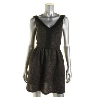 Aqua Womens Juniors Glitter Double-V Clubwear Dress