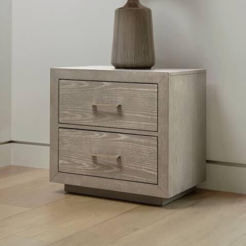 Abbyson Canterbury Grey Wood 2 Drawer Nightstand