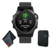 Garmin FENIX 5 Multi-Sport Training GPS Watch (Slate Gray w/ Black Band) Basic Accessory Bundle
